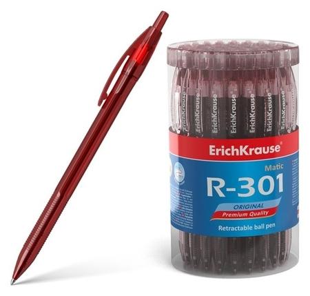 Ручка шариковая автоматическая Erich Krause R-301 Original Matic, узел 0.7 мм, чернила красные Erich krause