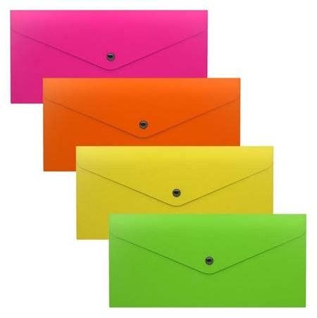 Папка-конверт на кнопке, полупрозрачная, Erichkrause Glossy Neon, Travel  Erich krause