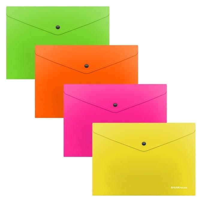 Папка-конверт на кнопке а5+, полупрозрачная, Erichkrause Glossy Neon  Erich krause