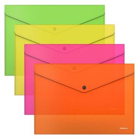 Папка-конверт на кнопке А4, пластиковая, Erichkrause Glossy Neon, полупрозрачная  Erich krause