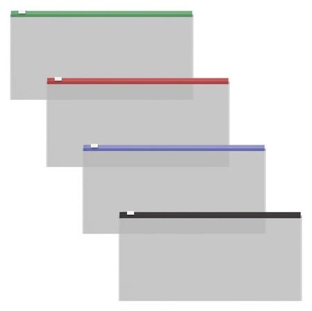 Папка-конверт на гибкой молнии Erichkrause Zip Fizzy Clear Travel, с цветной молнией  Erich krause
