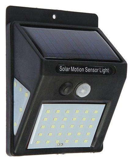 Светильник уличный с датчиком движения, солнечная батарея, 8 Вт, 30+5+5 Led, черный  LuazON