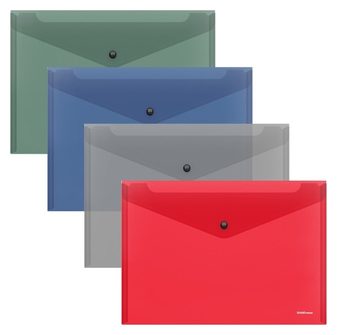 Папка-конверт на кнопке В5, Erichkrause. Glossy Classic, полупрозрачная  Erich krause