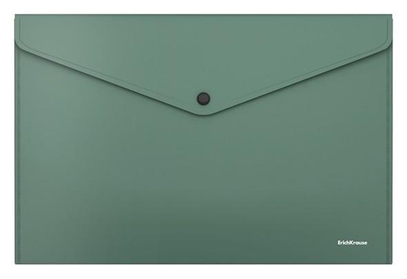 Папка-конверт на кнопке А4, Erichkrause. Fizzy Classic, непрозрачная, зелёная  Erich krause