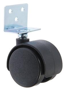 Колесо мебельное, D=40 мм, г-образное, с креплением, без тормоза, черный пластик