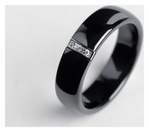 "Кольцо керамика ""Стразы"", 6мм, цвет чёрный, 20 размер  NNB"