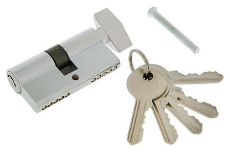 Цилиндровый механизм, 60 мм, с вертушкой, английский ключ, 5 ключей, цвет хром  NNB