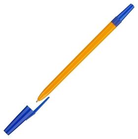 Ручка шариковая школьник, цвет чернил синий 1 мм, оранжевый корпус  Союз