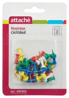 Кнопки для пробковых досок силовые Attache 30 шт./уп. в блистере  Attache