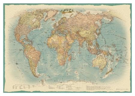 Настенная карта Мир политическая 1:22млн.,1,54х1,07м.,ретро стиль  Атлас принт