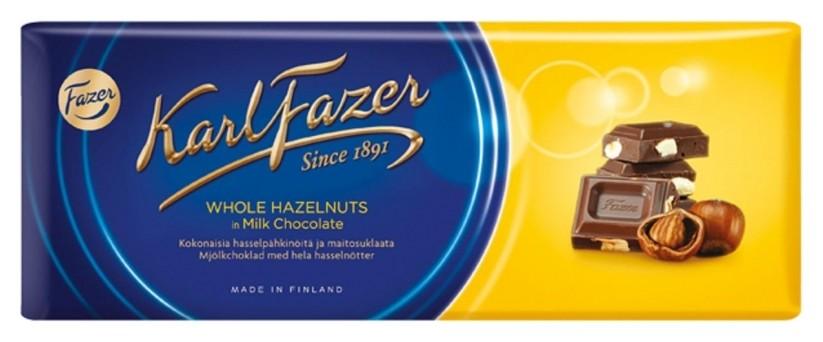 Шоколад Karl Fazer молочный шоколад цельный фундук, 200г Fazer