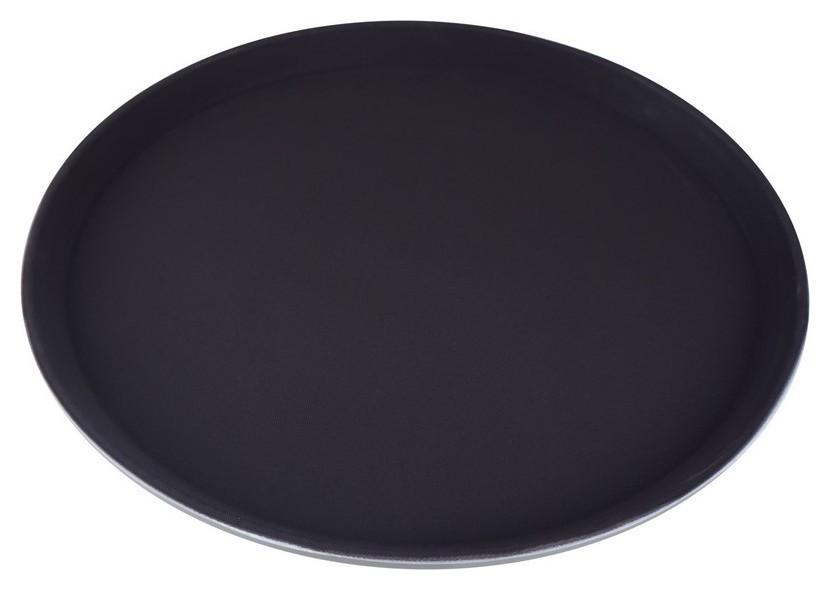 Поднос круглый D-35,5см коричневый с нескользящим покрытием  Gastrorag