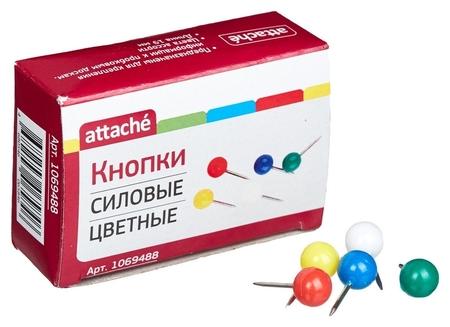 Булавки для пробковых досок Attache силовые, (Шарики) цветные 50шт/карт.уп  Attache