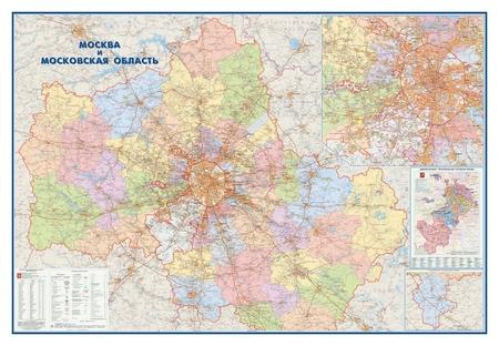 Настенная карта москва и московская область админ.1:170тыс.,2,33х1,58м.  Атлас принт