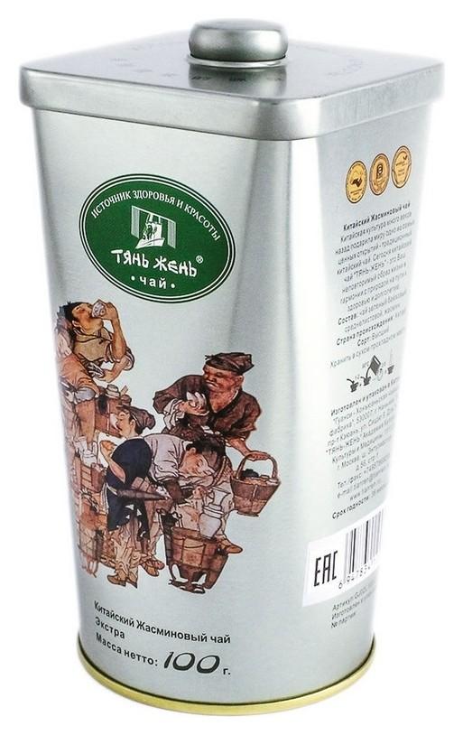 Чай зеленый жасминовый листовой экстра, 100 г ж/б Gj02l100-2  Тянь Жень