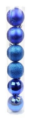 Набор из 6-ти пл шаров, мат/глян/глит, 8см, цвет-синий/пвх туба 45295  NNB