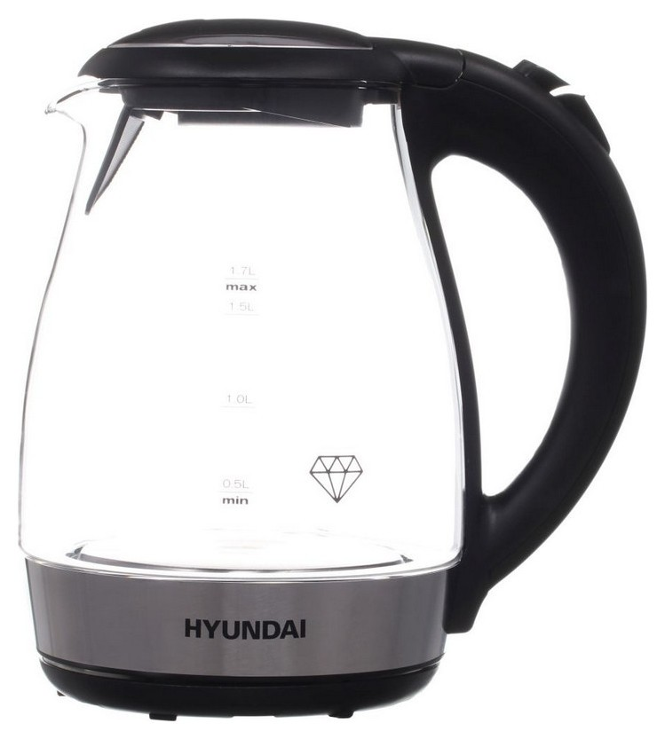 Чайник Hyundai Hyk-g2030 1.7л. 2200вт черный (Стекло)  Hyundai