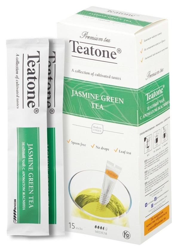 Чай Teatone зеленый с жасмином в металл.стике 15шт/уп. 737  Teatone