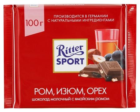 Шоколад Ritter Sport молочный ром, орех, изюм 100г Ritter sport