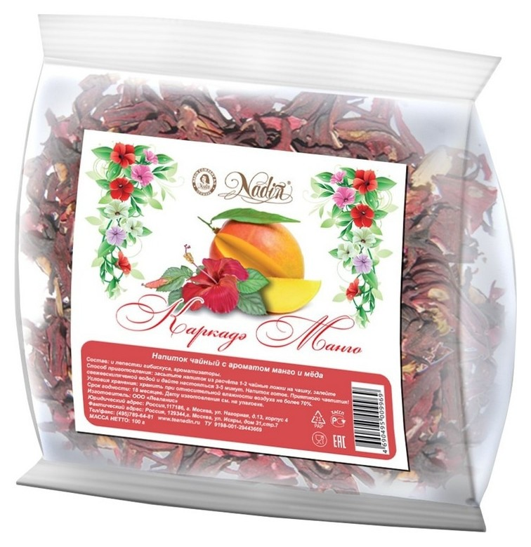Чай каркадэ-манго 100гр. 106430-01  Nadin