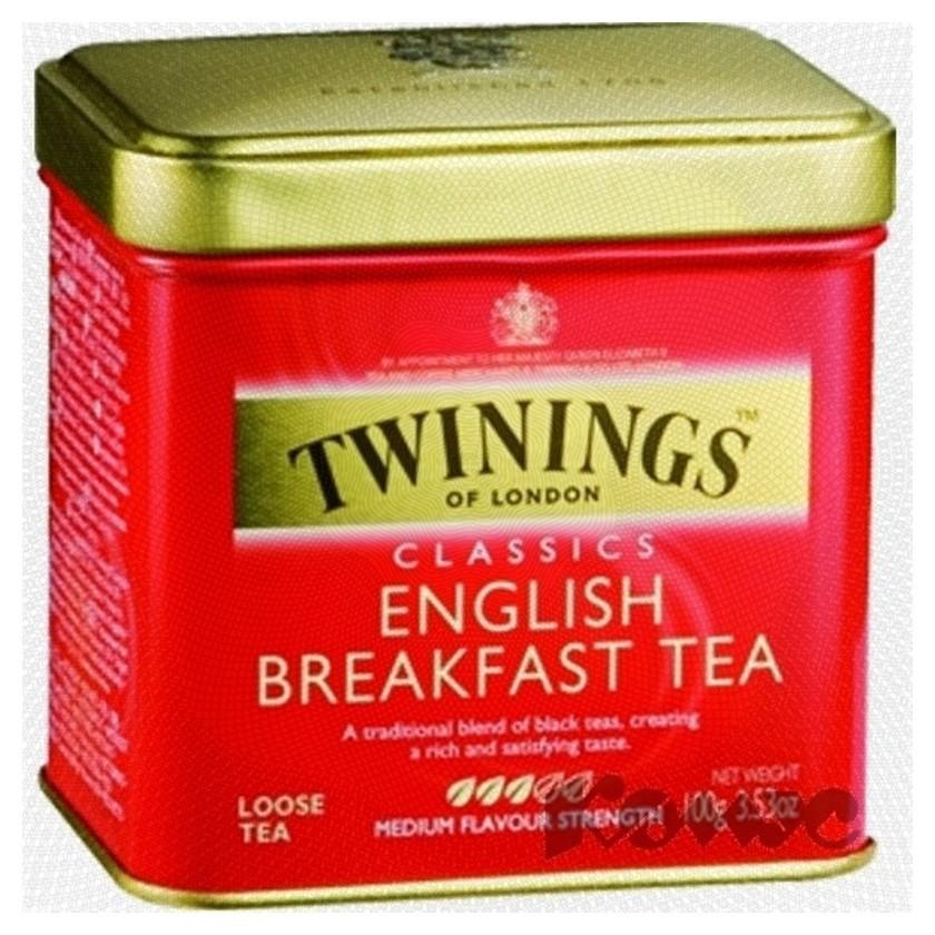 Чай Twinings English Breakfast Tea листовой черн.100г ж/б  Twinings