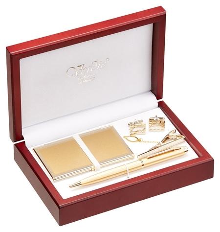 Набор пишущих принадл. ручка + визитница + зажим для галстука + запонки Ve 42  Verdie