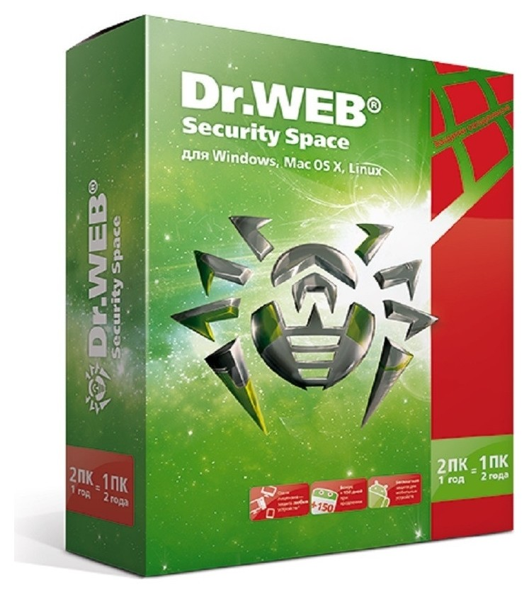 Антивирус Dr.web (Bhw-b-24m-2-a3) Security Space 2 пк/2 года  Dr.Web
