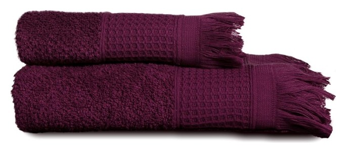 Набор махровых полотенец комби (50х90-1шт., 70х130-1шт.) божоле  PiCassa