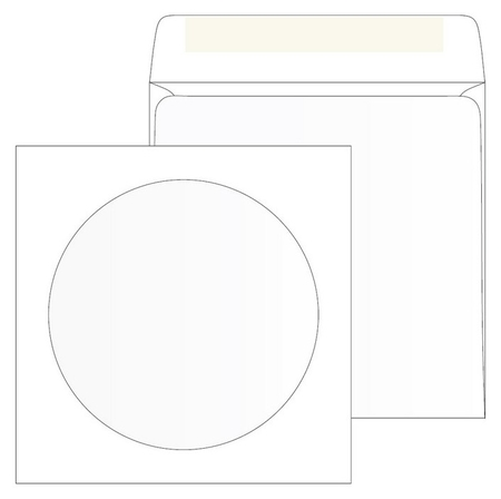 Конверты белый CD декстрин 125х125 окно D100мм 25шт/уп/4573  Packpost