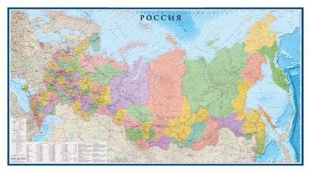 Настенная карта РФ политико-административная 1:3млн.,3,0х1,6м.  Атлас принт