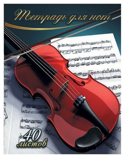 Тетрадь нотная 40л,а4,вертикальная скрипка тн40м489  NNB