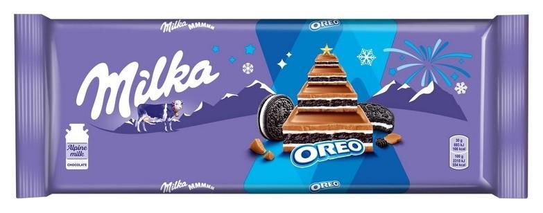 Шоколад Milka с начинкой со вкусом ванили и пеенье Oreo, 300г  Milka