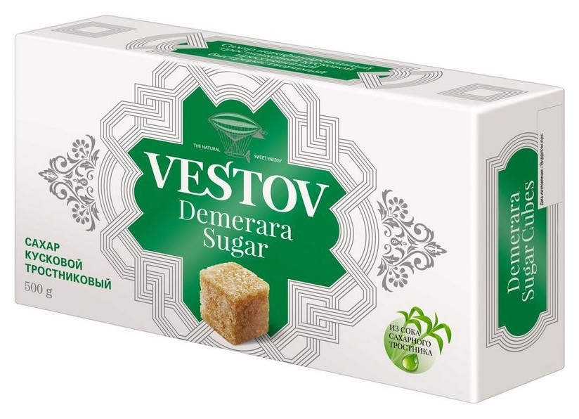 Сахар вестов тростниковый кусковой 500г  Vestov