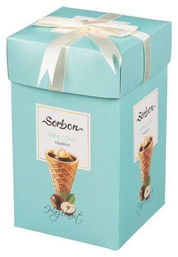Набор конфет Sorbon мини-рожки Hazelnut с какао хрустящей начинкой, 240г  Sorbon