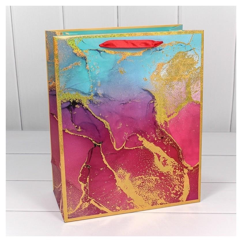 Пакет подарочный мрамор 26х32х13см арт.300397c  Omg-gift