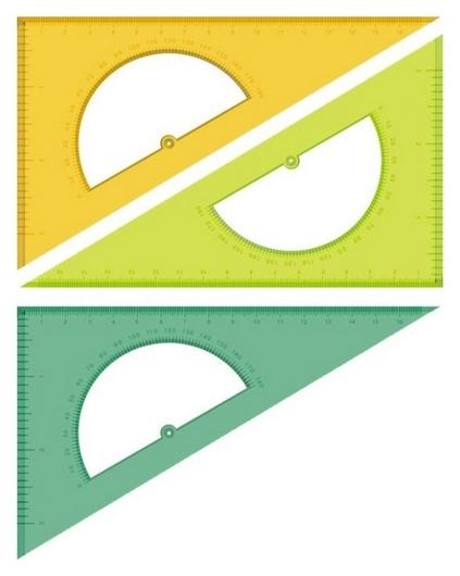 Линейка треугольник с транспортиром 16смугол30гротливн.шкалаneoncristalасс  Стамм