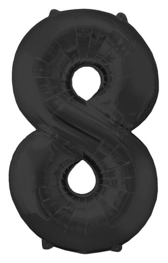 """Шар фольгированный 16"""", цифра 8, индивидуальная упаковка, цвет чёрный  NNB"""