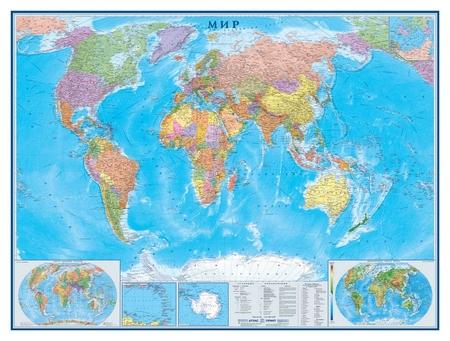 Настенная карта Мир политическая 1:22млн.,1,58х1,18м.  Атлас принт