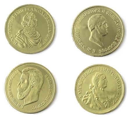 Набор из шоколада медали 25г императоры россии 0205  Монетный двор
