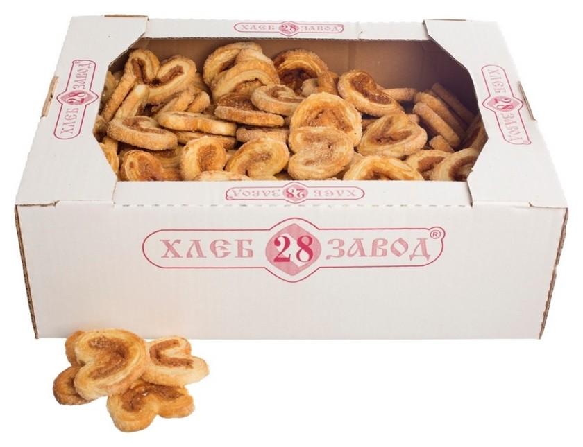 Печенье слоеное ушки с сахаром и корицей, 2,3 кг  Хлебозавод № 28