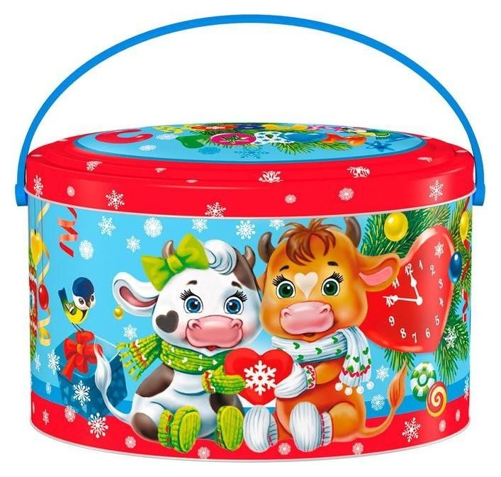 Новогодний сладкий подарок яша+даша ж/б 600гр  Центр сладостей