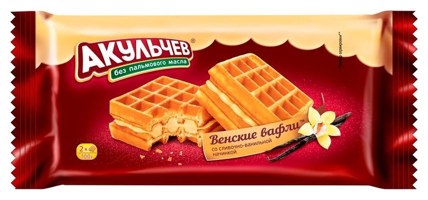 Вафли венские со сливочно-ванильной начинкой, 100 г.  Акульчев