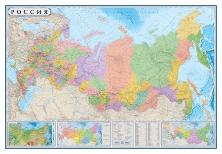 Настенная карта РФ политико-административная 1:3,7млн., 2,33х1,58м.  Атлас принт