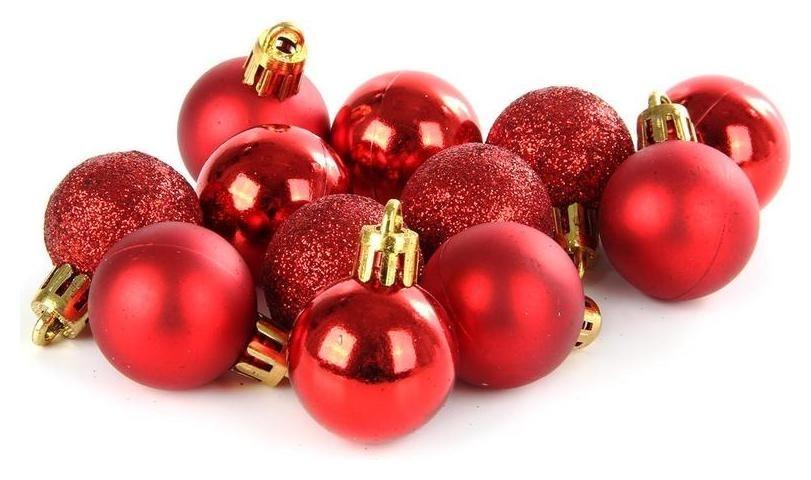 Набор из 12-ти пластиковых шаров, 3 см, цвет-красный 37741  NNB