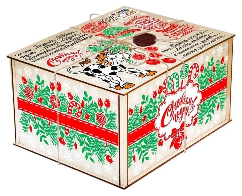 Новогодний сладкий подарок посылка от деда мороза 1000гр. уд0342  Центр сладостей