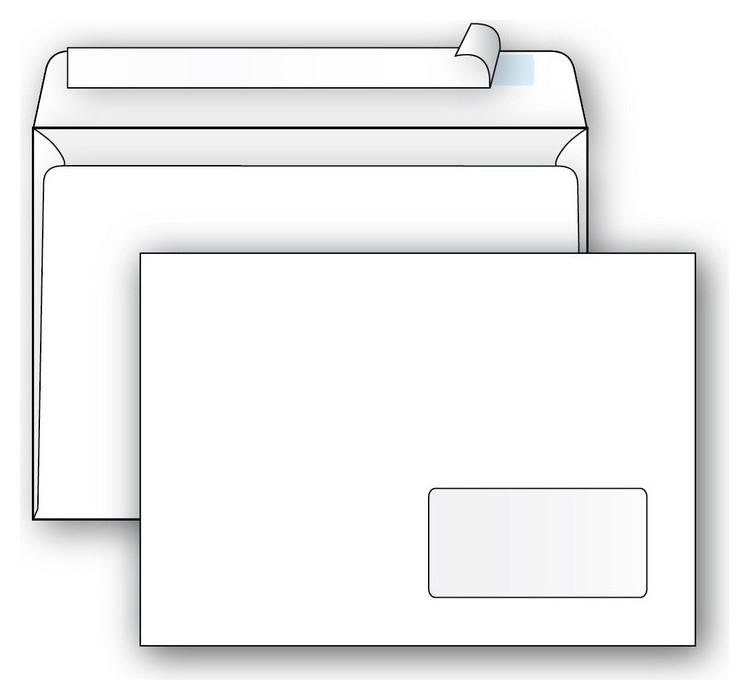 Конверты Ecopost С5 (162х229мм), стрип,пр.окно, 80г, 1000шт/уп /2832  Packpost
