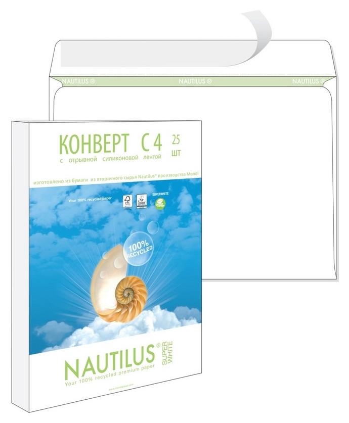 Конверты Nautilus,эко, с4(229х324мм), стрип,90г, 25шт/уп  Bong