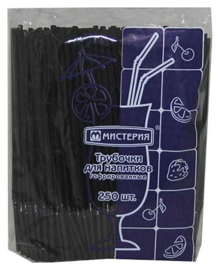 Трубочки для коктейля гофр.210мм,d=5мм, черные 250шт/уп.пп  Мистерия