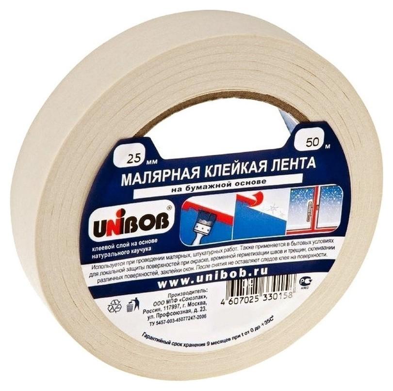 Клейкая лента малярная Unibob 25мм х 50м  Unibob