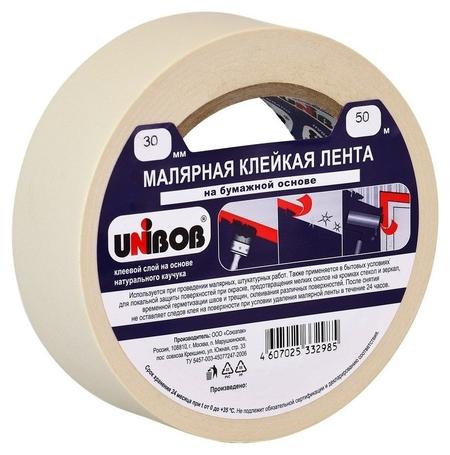 Клейкая лента малярная Unibob 30мм х 50м  Unibob